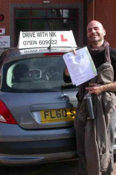 Nick passed his practical driving test