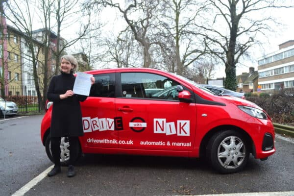 Automatic driving lessons Crouch End Caroline passed her practical driving test first time with Drive with Nik