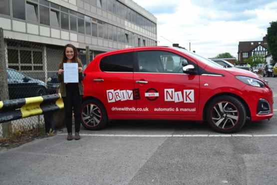 Driving Lessons Arnos Grove. Karlene passed her driving test first time with Drive with Nik.