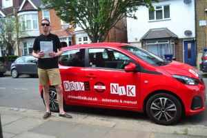Automatic Driving Lessons East Finchley. Alex passed his automatic driving test with Drive with Nik.