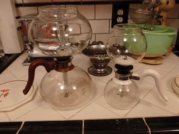 Big brother, little brother -  1930's six cup and two cup, vacuum coffee pots.