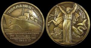 Jean Vernon bronze medallion for the maiden voyage.
