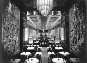 The First Class dining hall. 305 feet long, 46 feet wide and three decks high.