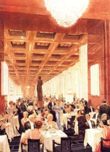 Painting of the first class dining room, from the original brochure.
