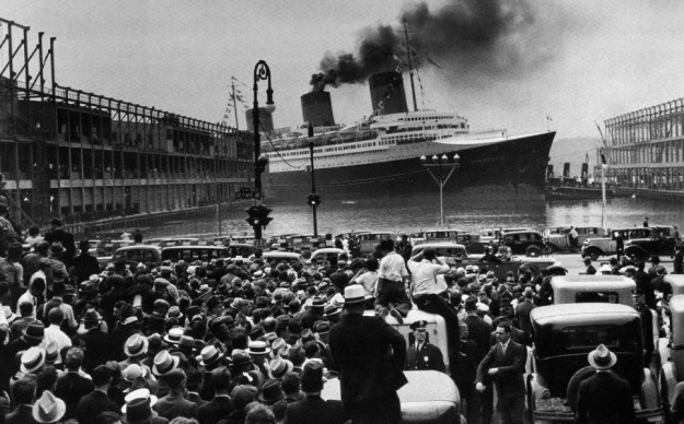 The Normandie arrives at Pier 88 North River for the first time. June 3, 1935