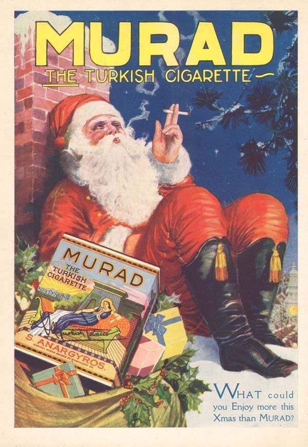 A very un-PC Vintage 1920's Santa ad.
