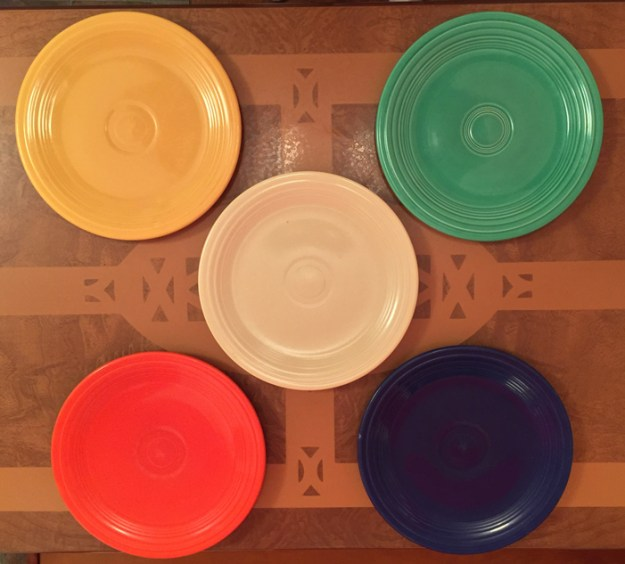 Fiestaware 9 inch plates in the original five colors.