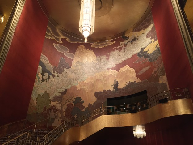 """Erza Winter's """"Fountain of Youth"""" Mural on the Grand Staircase of Radio CIty Music Hall"""