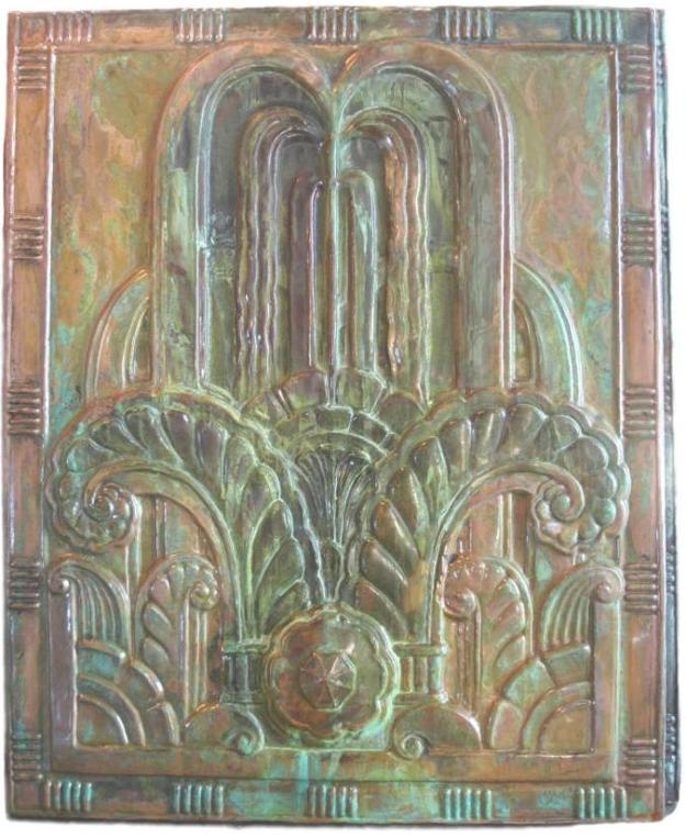 Reproduction Art Deco copper panel.