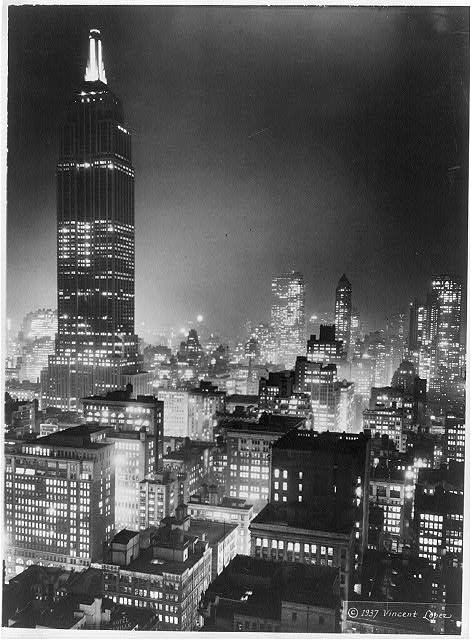 Empire State Building, night time, 1930's