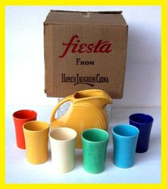 Fiestaware juice set and carton.