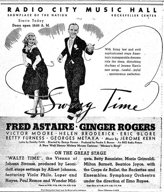 Herald-Tribune newspaper ad for Swing Time