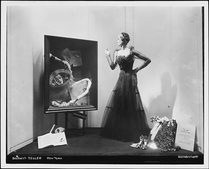 Surrealist showcase window.