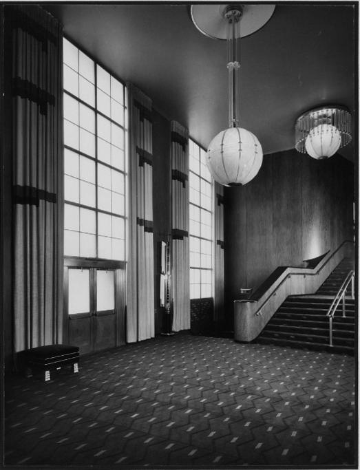 R-K-O Roxy Lobby showing staircase to mezzanine, 1932.