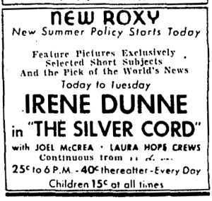 New summer policy newspaper advertisement, May 1933