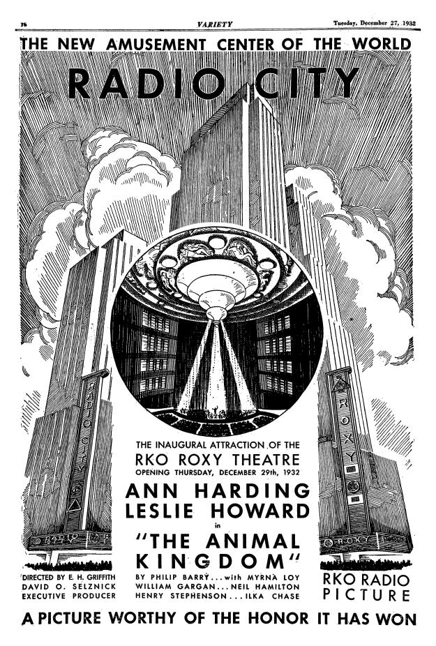 Advertisement from Variety for the R-K-O Roxy's opening night.