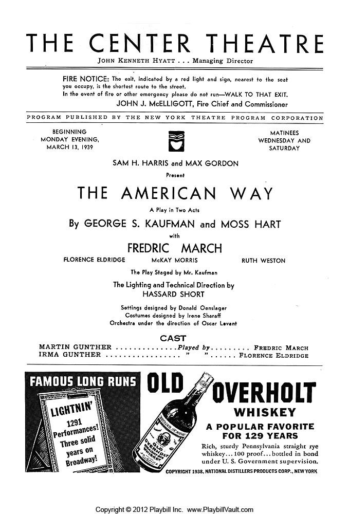 Inside of The American Way Playbill