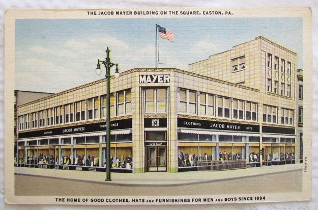 Postcard of the Mayer Clothing Store.
