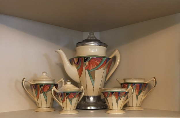 "Royal Rochester's ""Modernistic"" coffee pot and sugars and creamers."