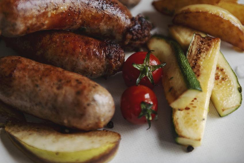 Homemade pork sausages for dinner