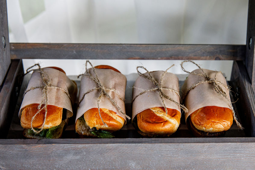 Sandwiches on event catering. Street food ready to serve on a food stall