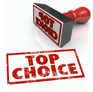The words Top Choice in a red stamp to illustrate best selection, ultimate company or service in a comment, review or feedback