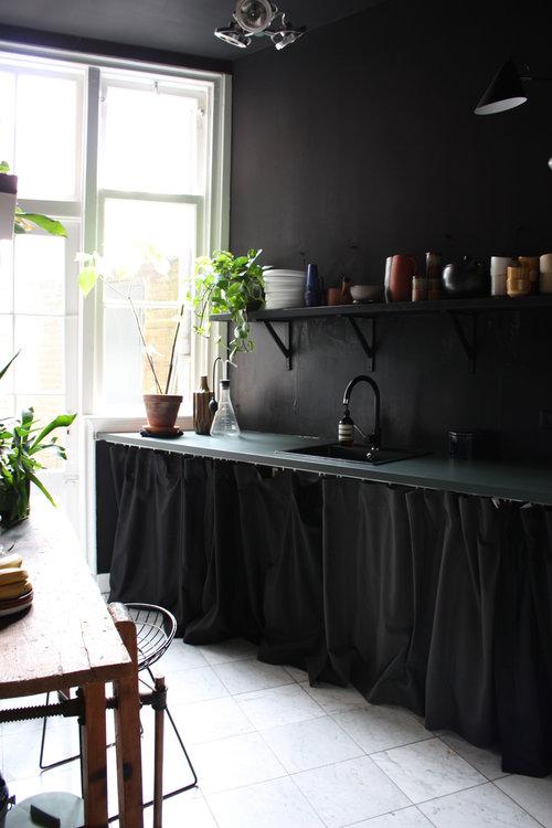 Cortinas en lugar de puertas en los armarios de cocina