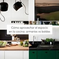 Cómo aprovechar el espacio en la cocina: armarios vs baldas