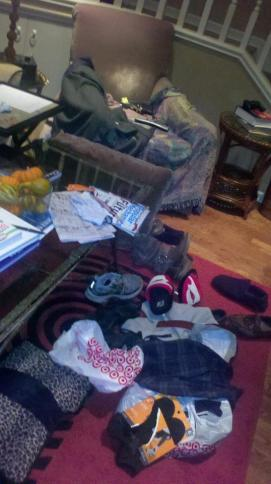 My den through Thanksgiving;  looks like a cyclone hit it...