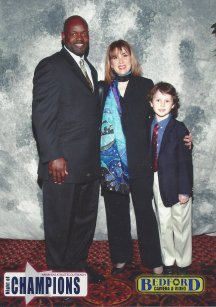 Emmitt Smith, me and my son at a fundraiser... what is up with that scarf? thought I looked so lovely...