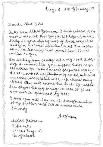 Brief von A. Hofmann an S. Jobs