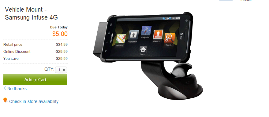 [Deal] Samsung Infuse 4G vehicle mount, fits Galaxy S III $9.99 with free shipping