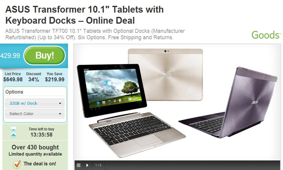 ASUS Transformer Pad Infinity TF700 (Refurbished) on sale at Groupon, get it for as low as $349