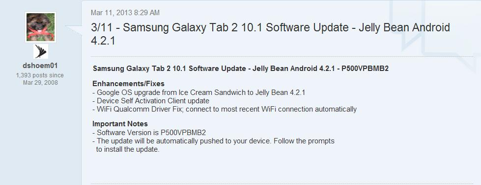 Sprint's Samsung Galaxy Tab 2 10.1 gets updated to Jelly bean