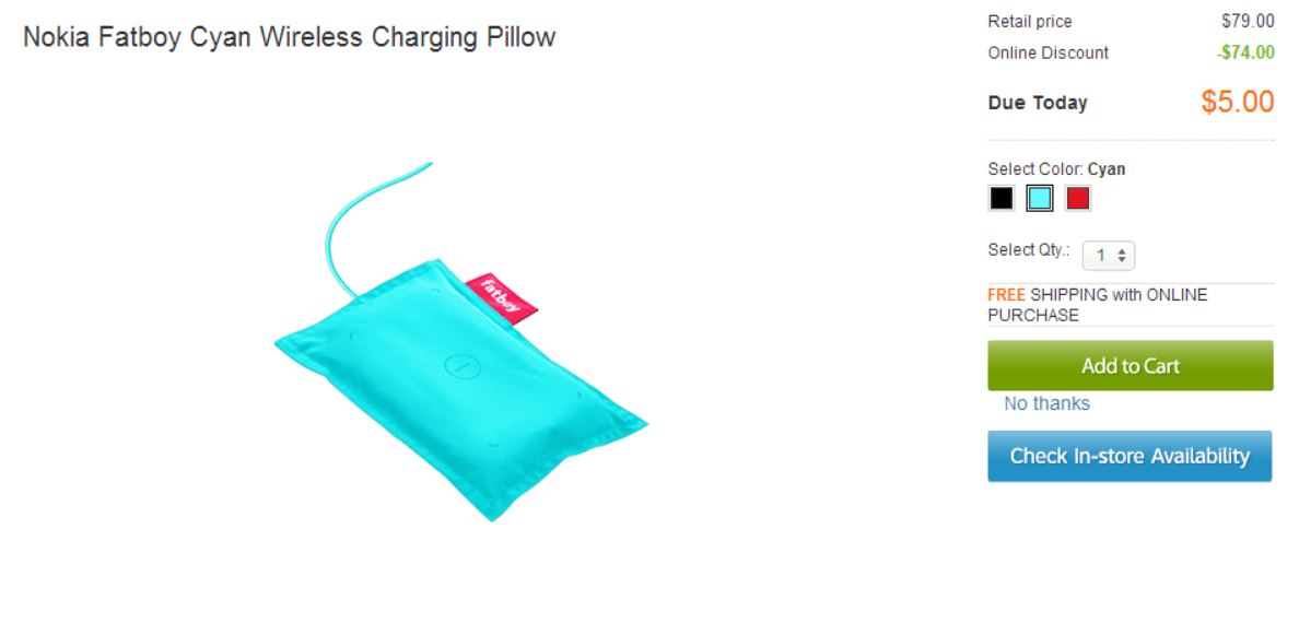 [Super Deal] Nokia DT-901 Fatboy Qi wireless charging pillow (cyan) $5 shipped
