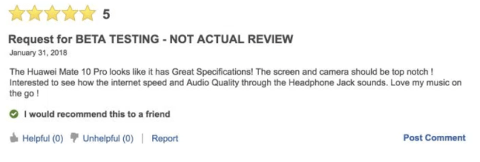 Are there fake Huawei Mate 10 Pro reviews on Best Buy's website?