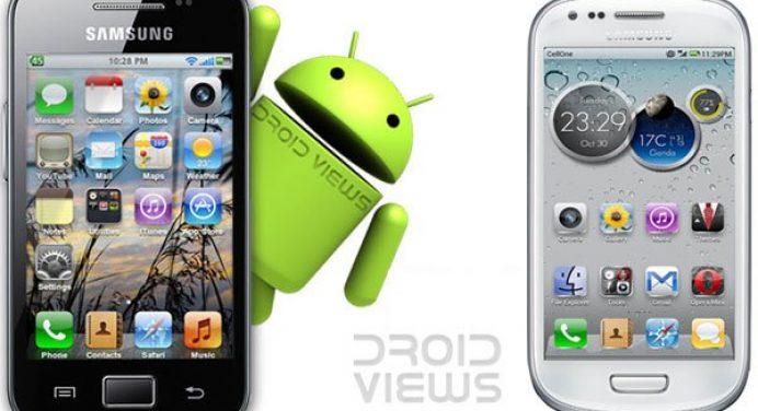 iOS-Interferenz auf Samsung Galaxy-Handys - Schwarzweiß-Samsung-Galaxy mit iOS-Look - Droid-Ansichten