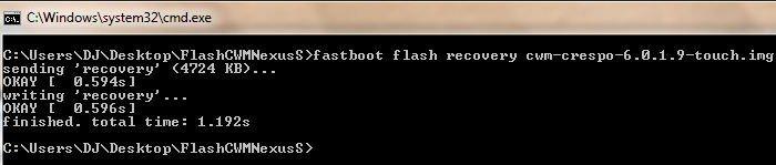 So flashen Sie ClockworkMod Recovery 6.0.1.9 unter Nexus S - Flash ClockWorkMod Touch - Droid Views