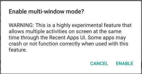 Warnung für den Multi-Window-Modus unter Android M.
