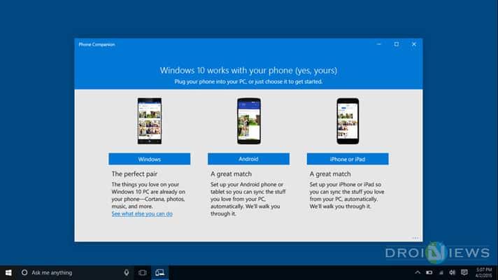 Synchronisieren Sie den Windows 10-PC mit Android