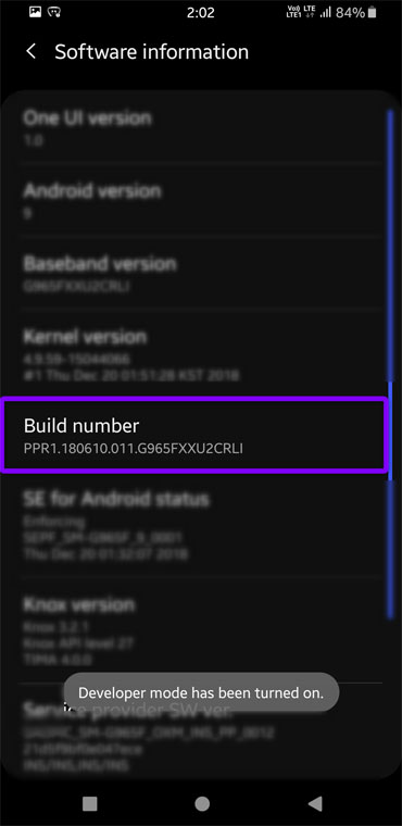 android developer options enabled