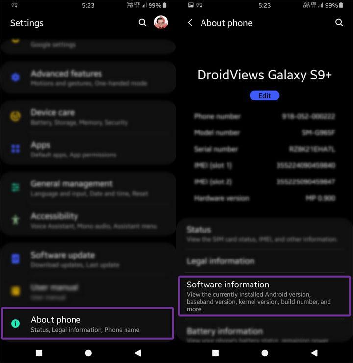 Informationen zur Android-Einstellungssoftware