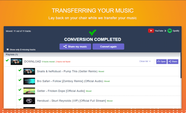 transfer paylist from youtube to spotify