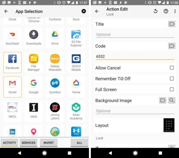 Lock specific apps on tasker