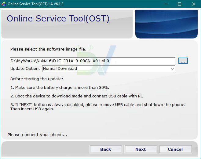 OST-Tool Installation der Nokia Firmware