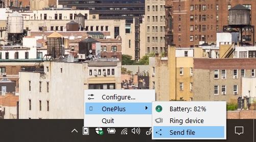 KDE connect send file windows