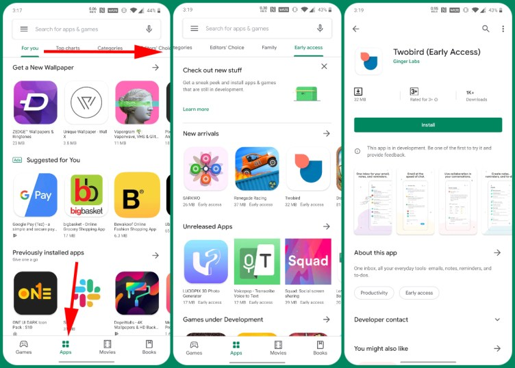 Google Play Store advance access feature