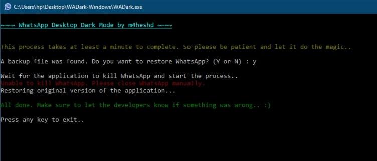 disable the dark theme of WhatsApp