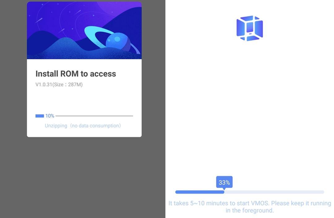 Screenshots der VMOS-Installation
