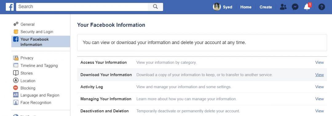 Facebook-Infos herunterladen